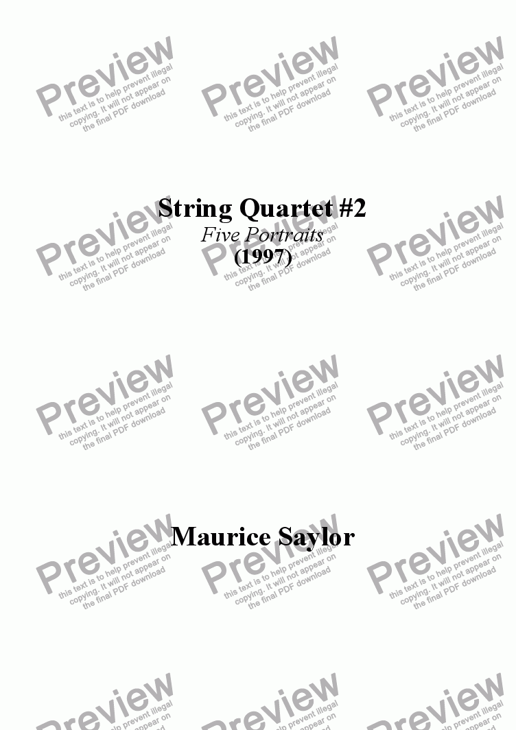 page one of String Quartet #2 (1997)