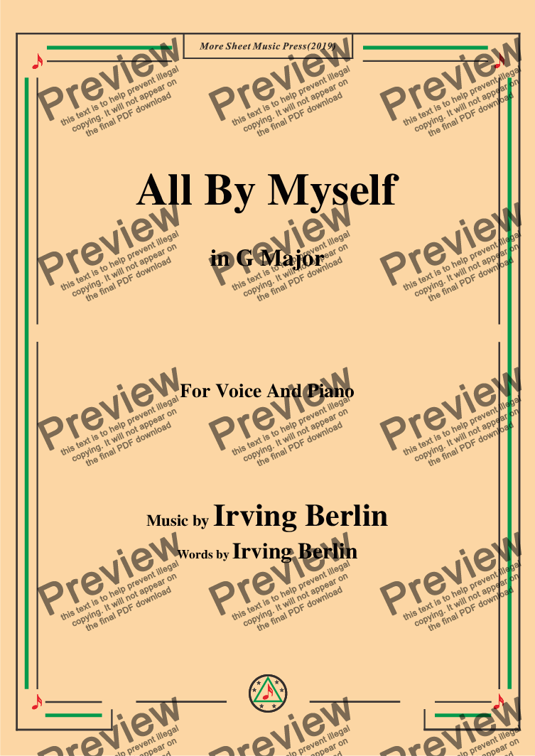 page one of Irving Berlin-All By Myself,in G Major,for Voice and Piano