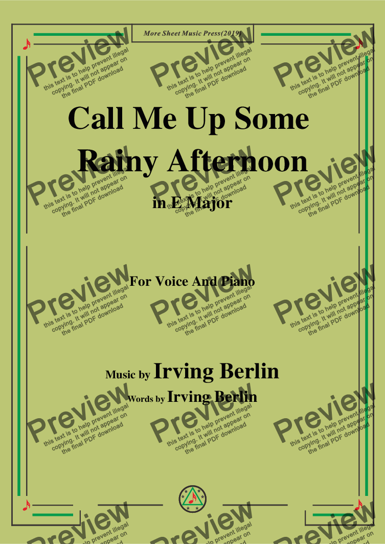 page one of Irving Berlin-Call Me Up Some Rainy Afternoon,in E Major,for Voice&Pno