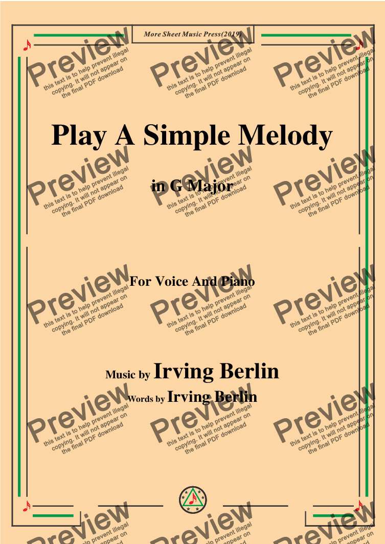 page one of Irving Berlin-Play A Simple Melody,in G Major,for Voice and Piano