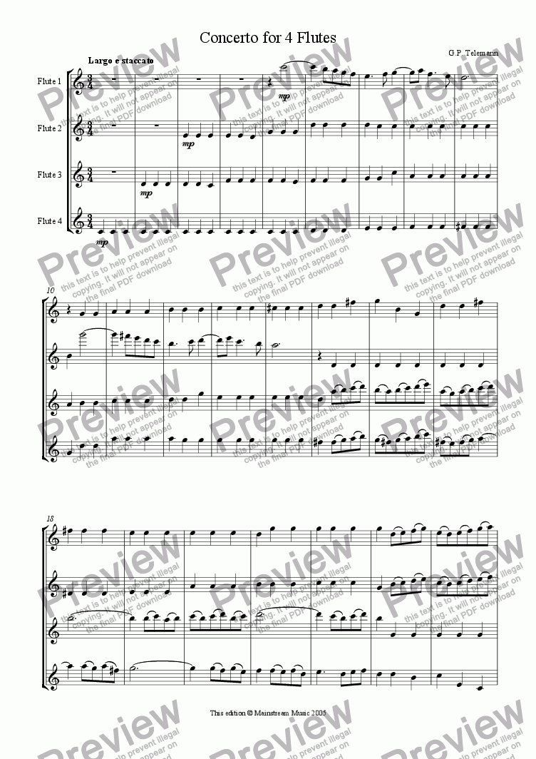 page one of Concerto for 4 Flutes