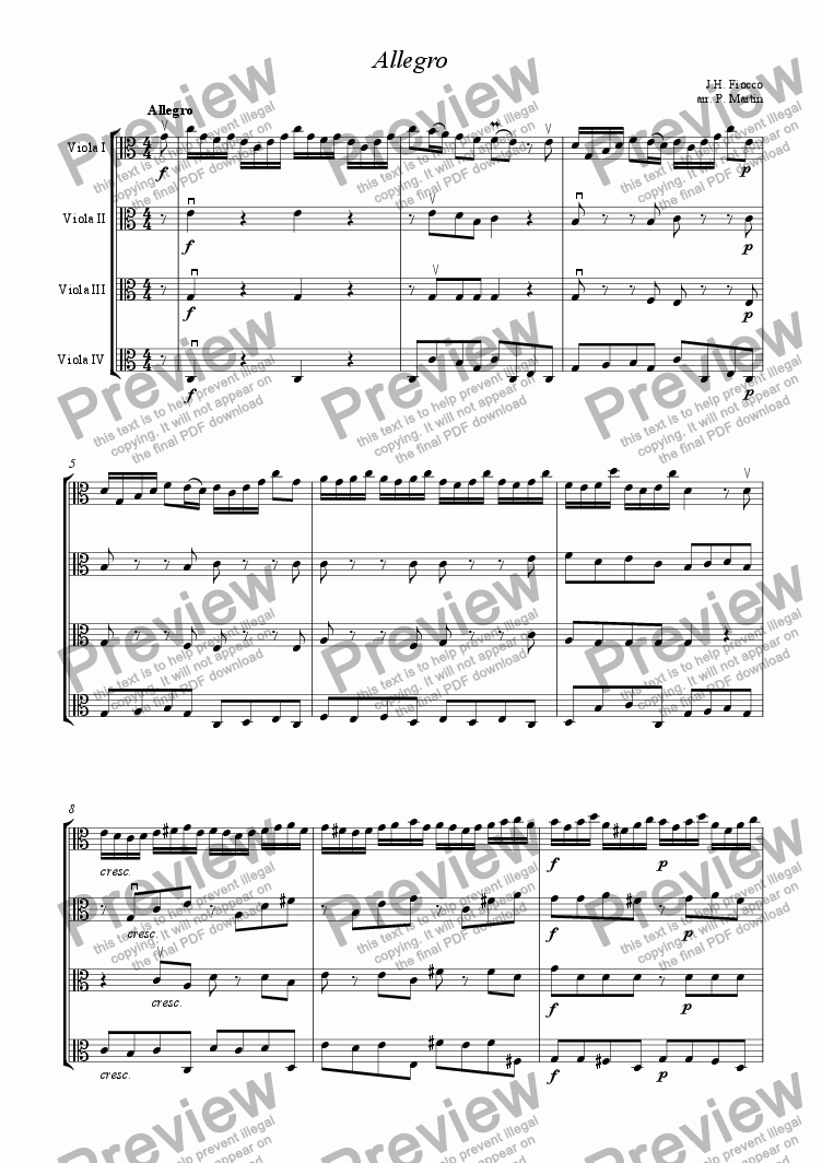page one of Allegro - Viola Quartet