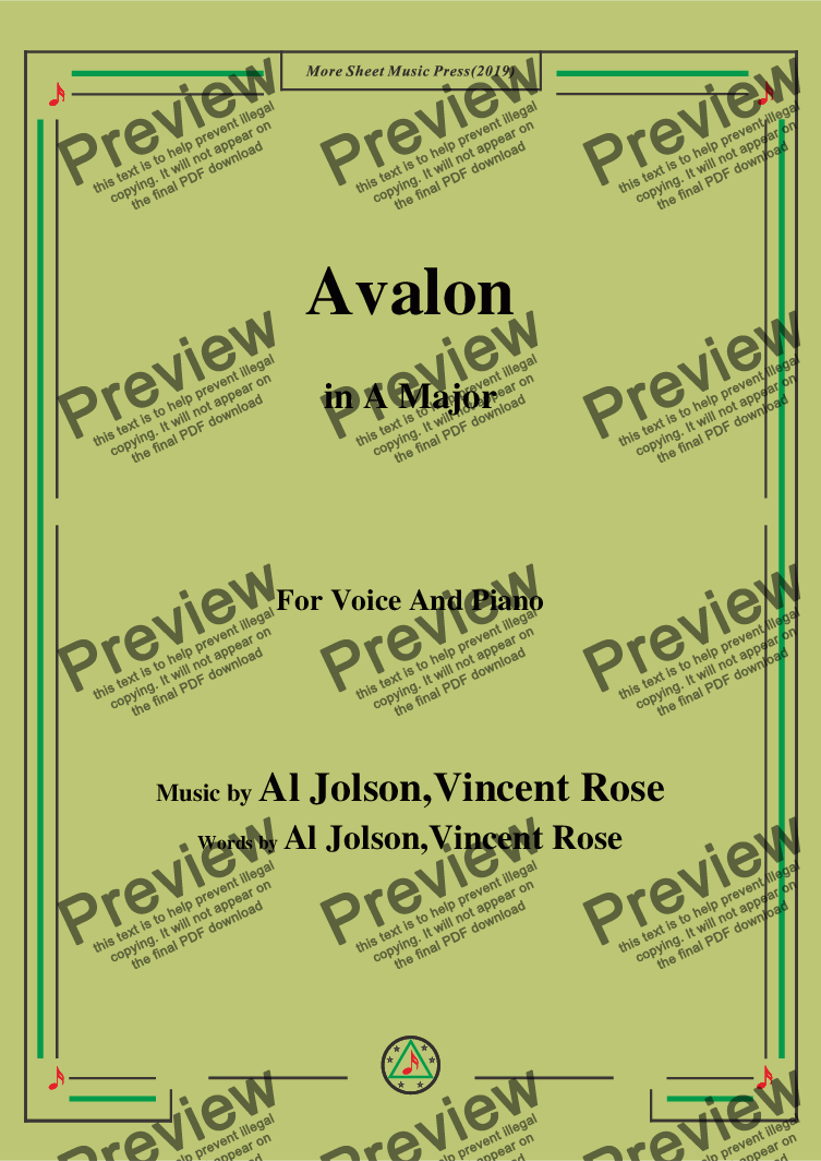 page one of Al Jolson,Vincent Rose-Avalon,in A Major,for Voice and Piano