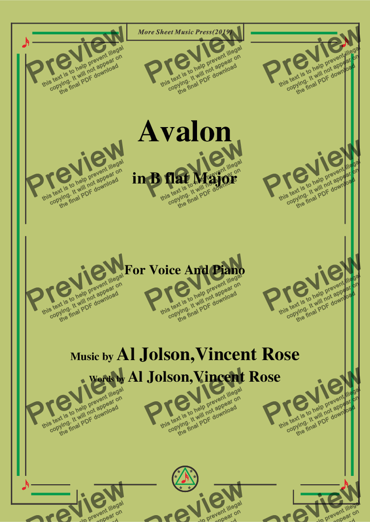 page one of Al Jolson,Vincent Rose-Avalon,in B flat Major,for Voice and Piano