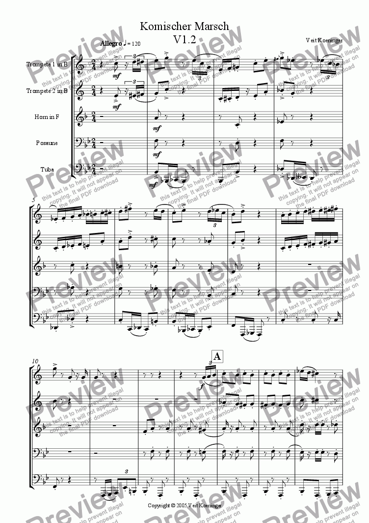 page one of Comical march 1 for brass quintet