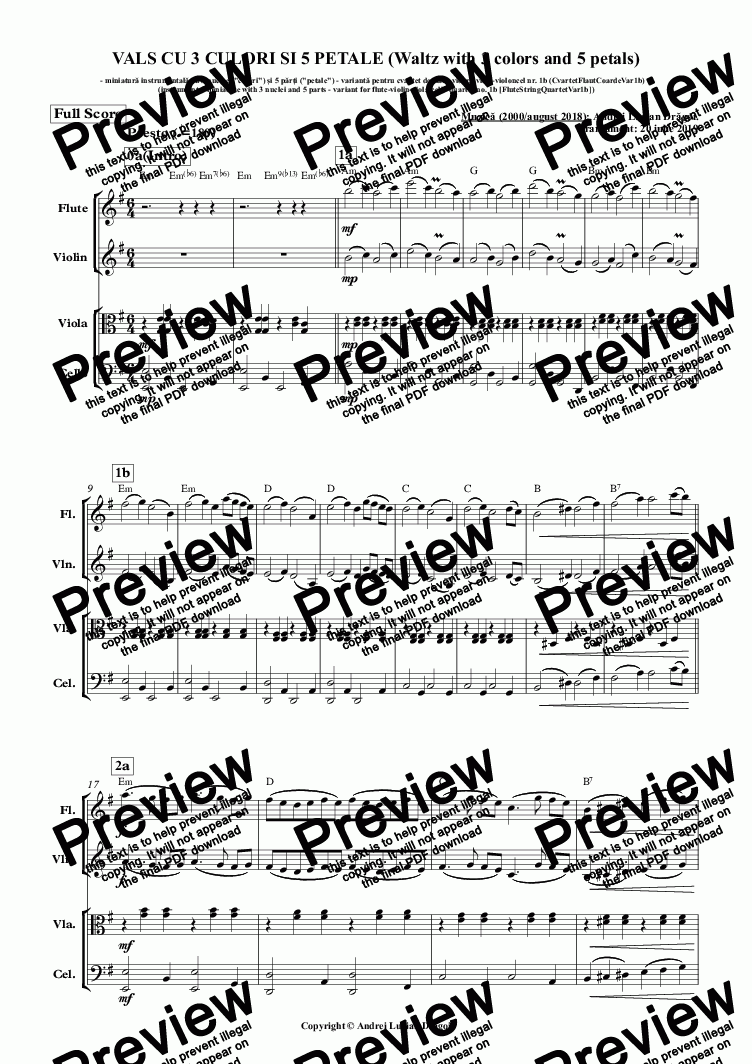 VALS CU 3 CULORI SI 5 PETALE (Waltz with 3 colors and 5 petals)  (instrumental miniature with 3 nuclei and 5 parts - variant for