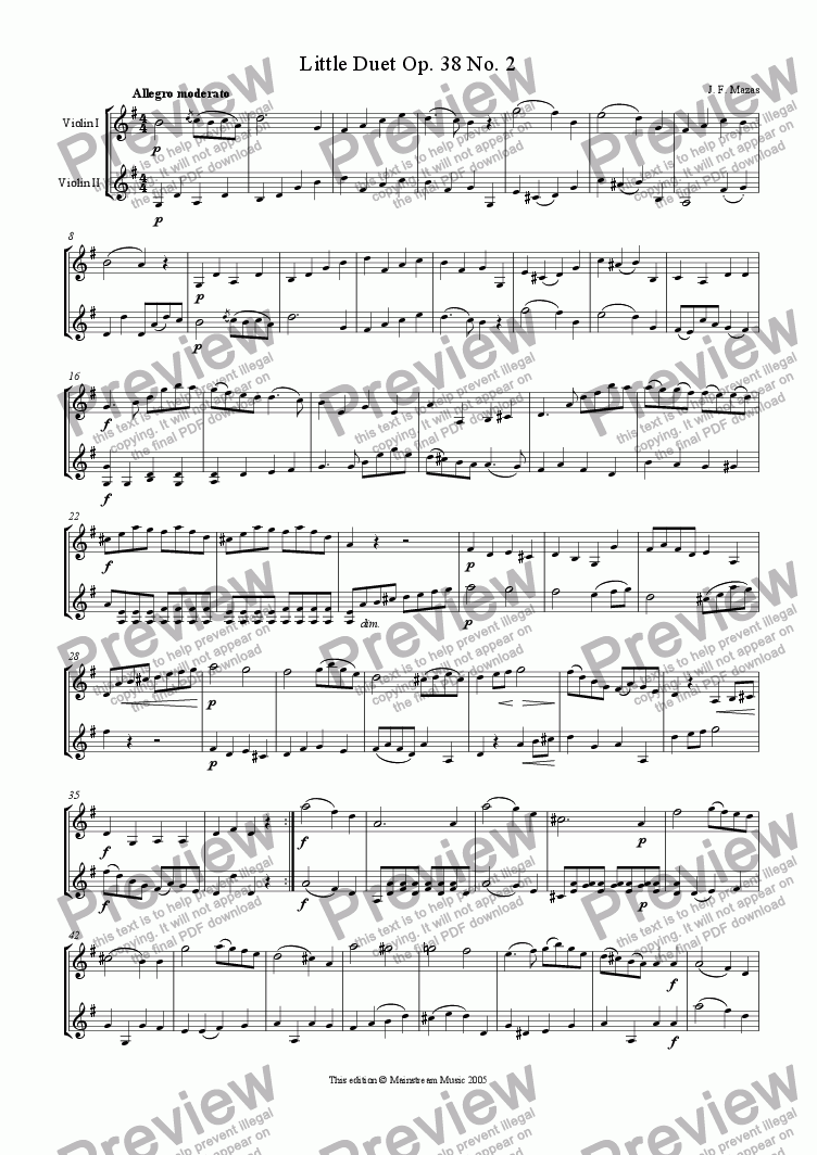 page one of Little Duet Op. 38 No. 2 - Violin