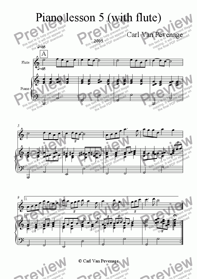 page one of Piano lesson 5 (with flute)