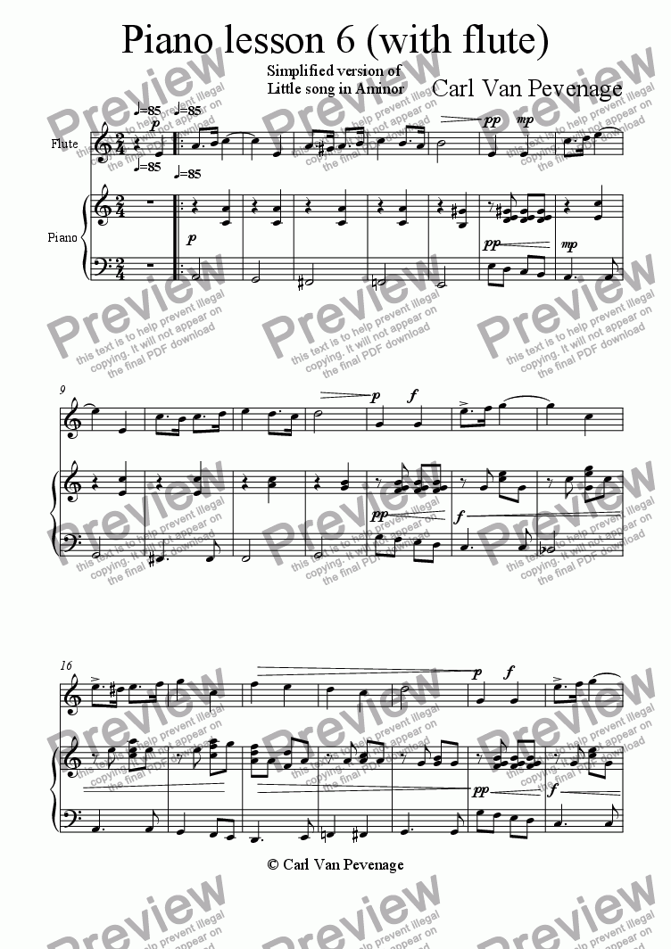 page one of Piano lesson 6 (with flute)