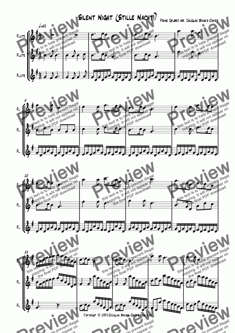 page one of Gruber, Franz: Silent Night (Stille nacht) for 3 flutes