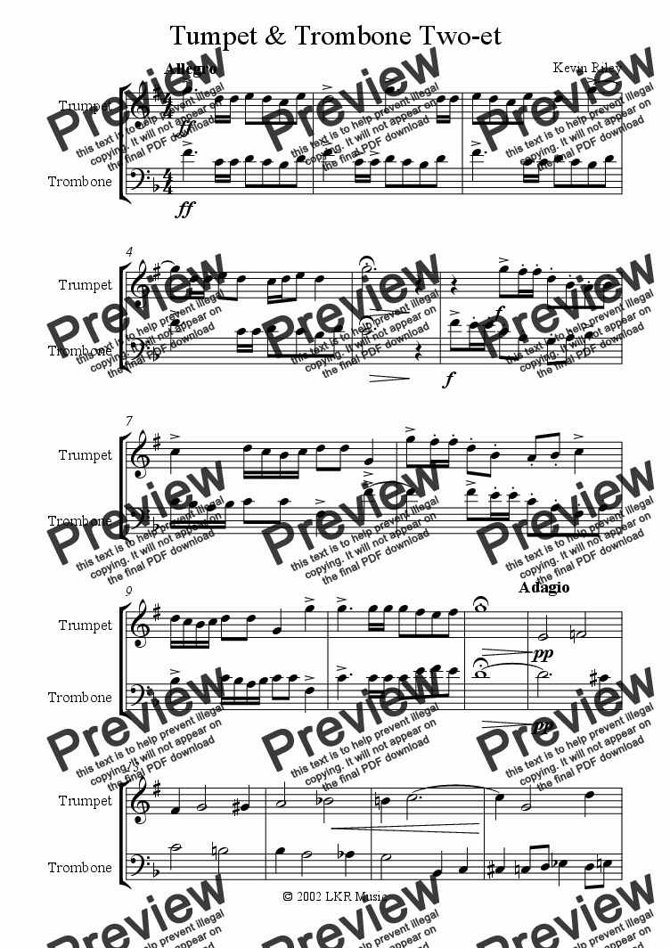 page one of Tumpet & Trombone Two-et