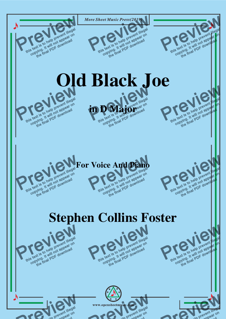 page one of Stephen Collins Foster-Old Black Joe,in D Major,for Voice and Piano