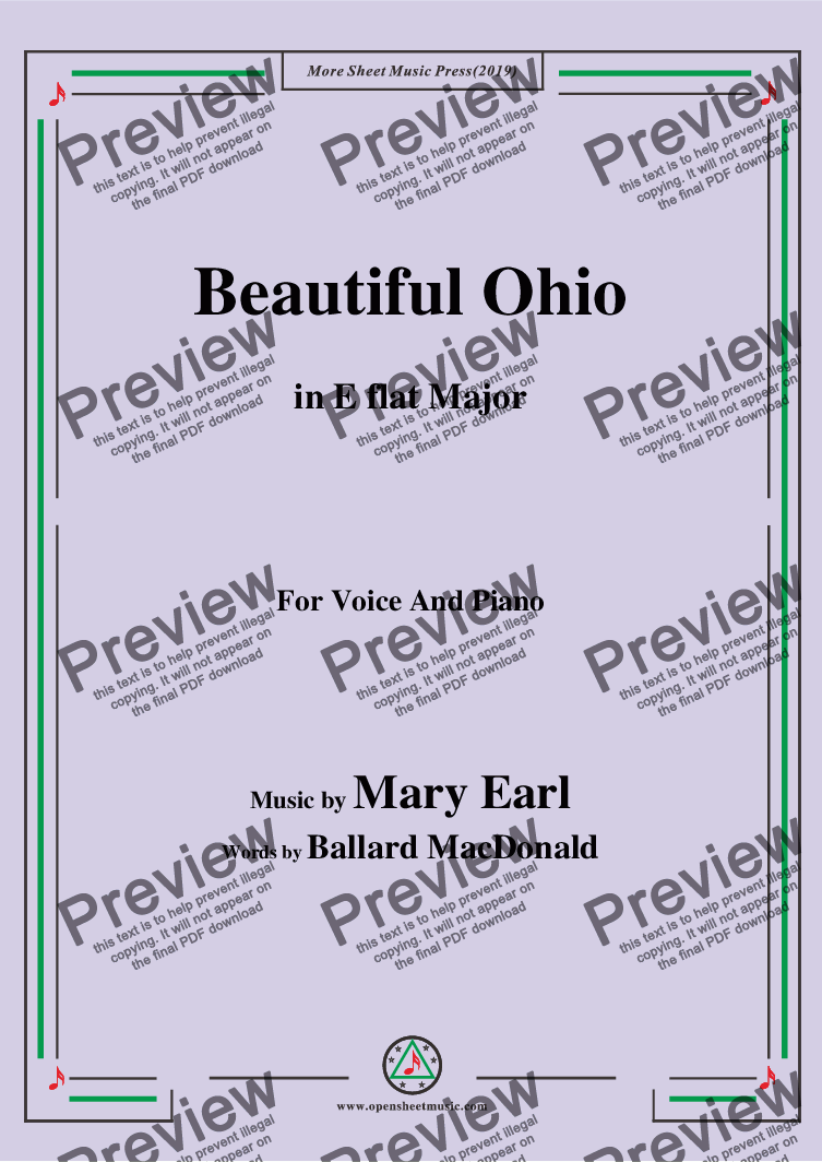 page one of Mary Earl-Beautiful Ohio,in E flat Major,for Voice and Piano