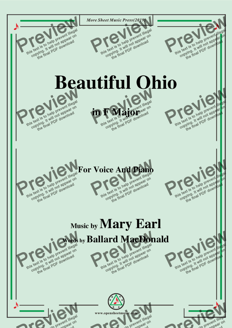 page one of Mary Earl-Beautiful Ohio,in F Major,for Voice and Piano