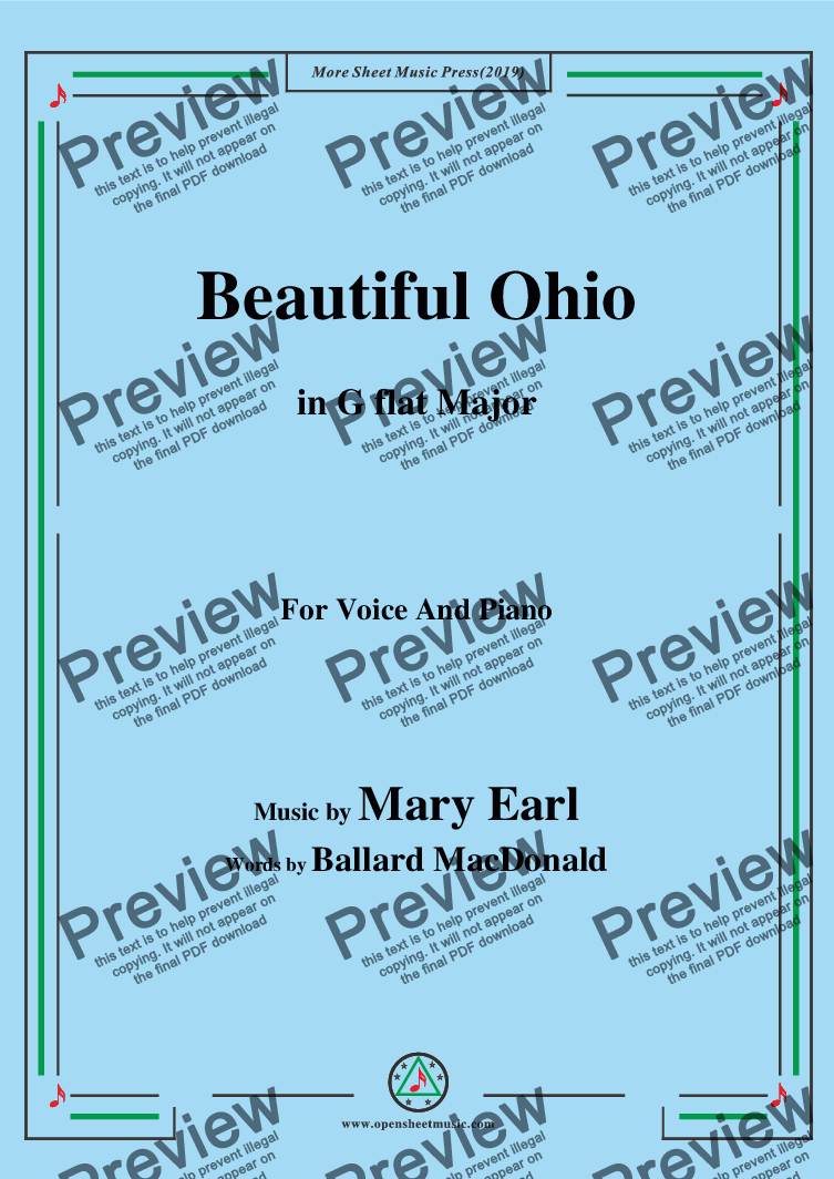 page one of Mary Earl-Beautiful Ohio,in G flat Major,for Voice and Piano