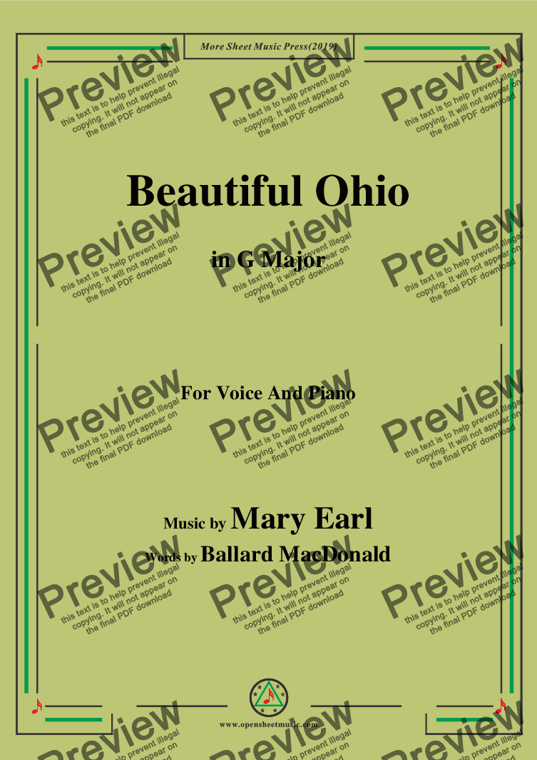 page one of Mary Earl-Beautiful Ohio,in G Major,for Voice and Piano