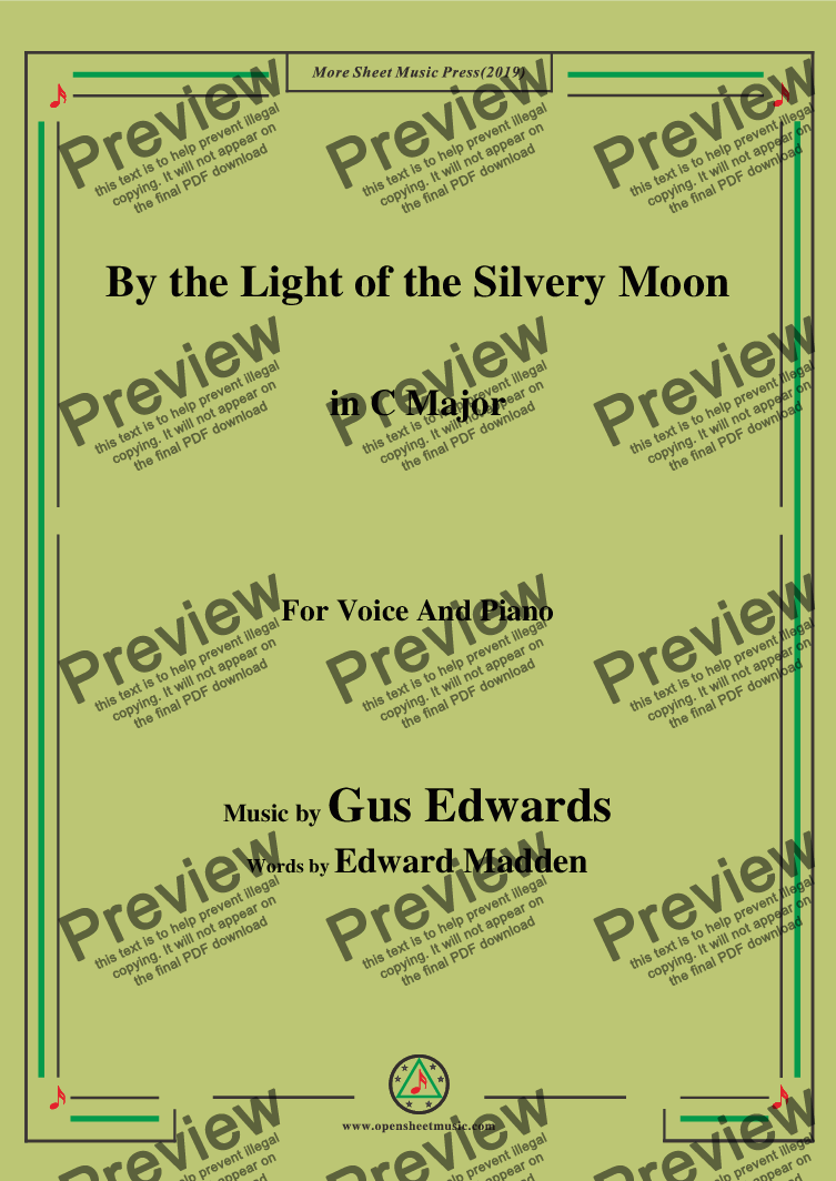 page one of Gus Edwards-By the Light of the Silvery Moon,in C Major,for Voice and Piano