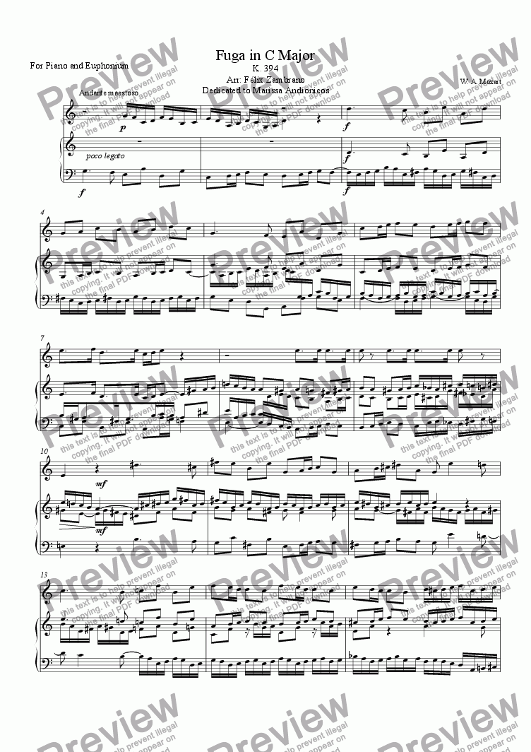 page one of Fugue In C Major