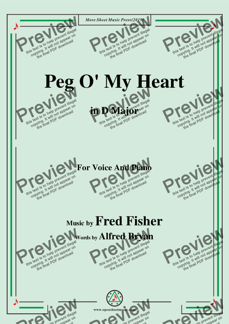 page one of Fred Fisher-Peg O' My Heart,in D Major,for Voice and Piano