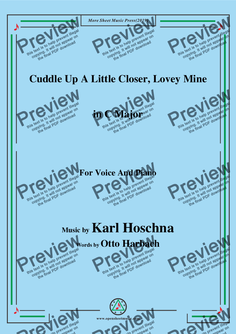 page one of Karl Hoschna-Cuddle Up A Little Closer,Lovey Mine,in C Major,for Voice&Pno