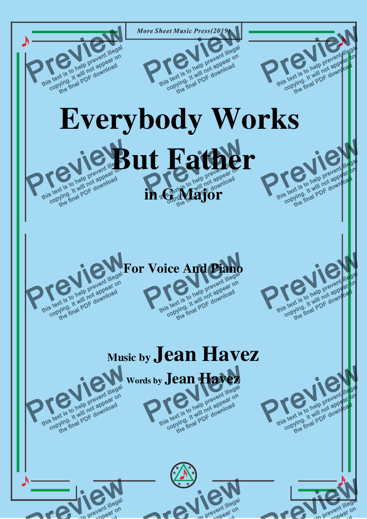 page one of Jean Havez-Everybody Works But Father,in G Major,for Voice and Piano