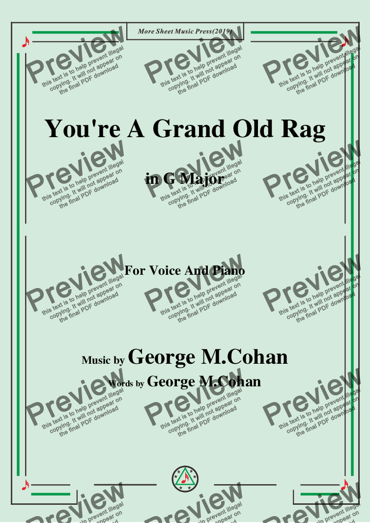 page one of George M. Cohan-You're A Grand Old Rag,in G Major,for Voice and Piano