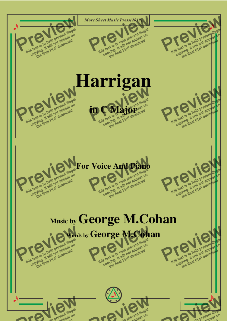 page one of George M. Cohan.-Harrigan,in C Major,for Voice and Piano