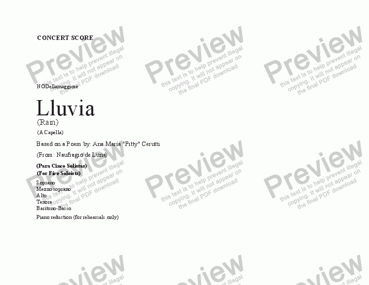 page one of Lluvia (a capella)(concert score)(revised)