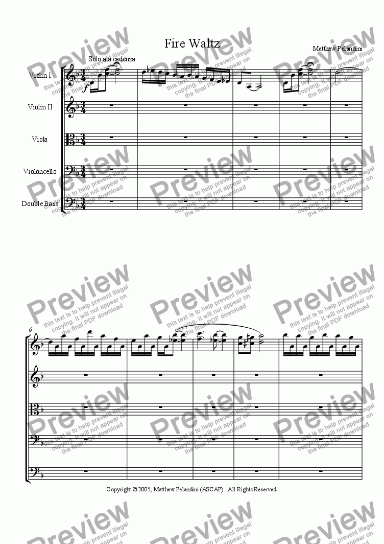 page one of Fire Waltz (Danse fuego)