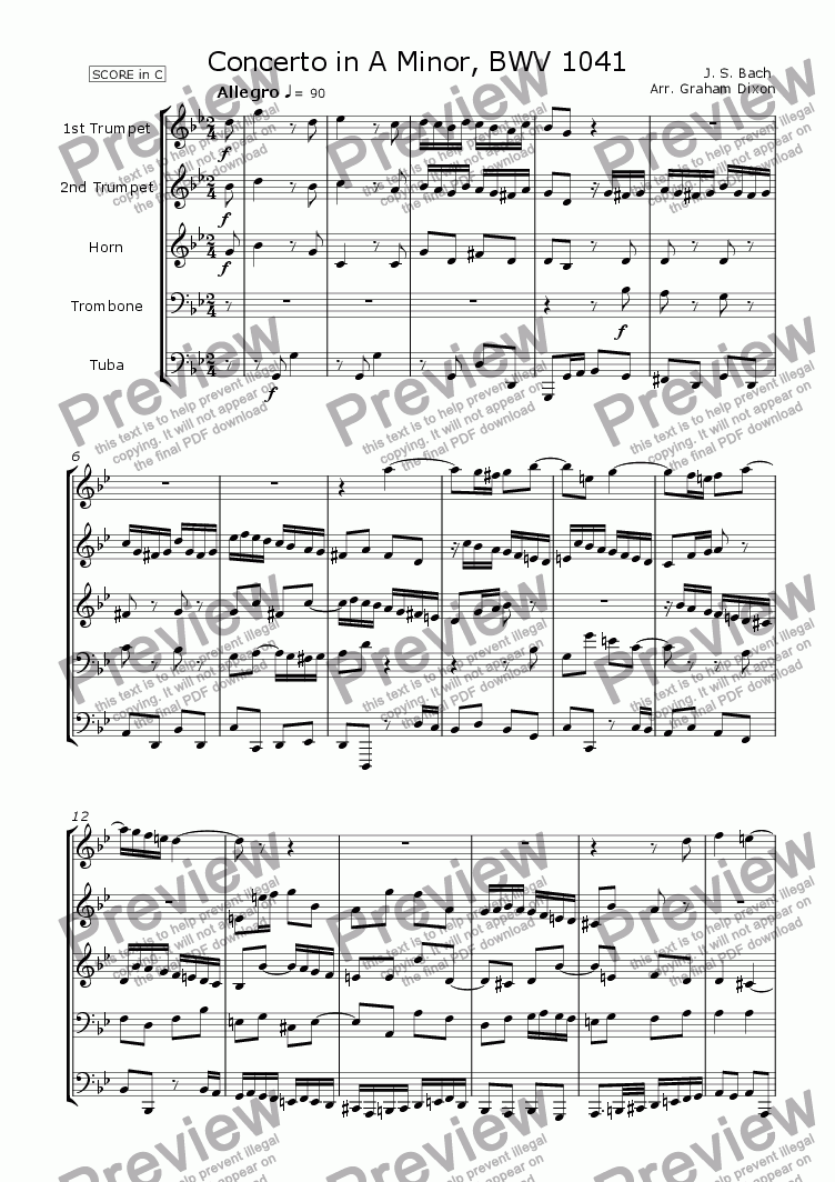 page one of Concerto in A Minor, BWV 1041 for Brass Quintet
