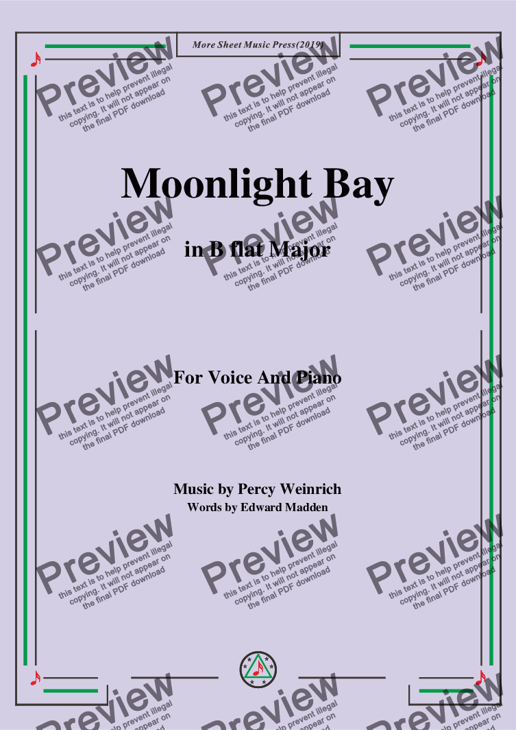 page one of Percy Wenrich-Moonlight Bay,in B flat Major,for Voice and Piano