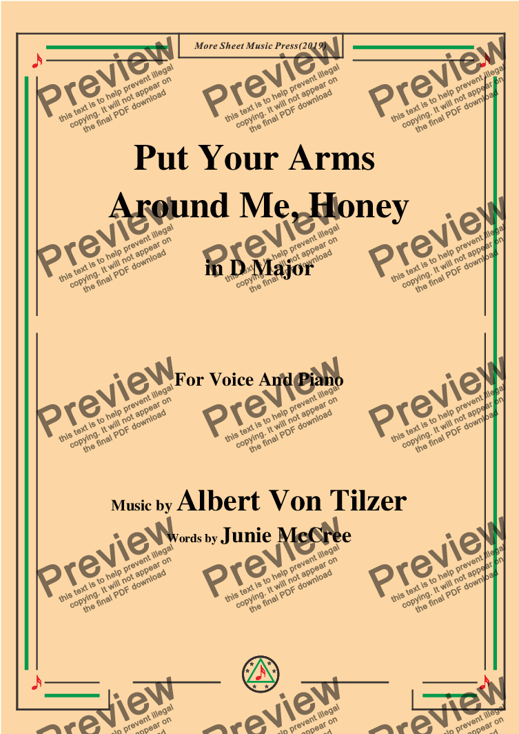 page one of Albert Von Tilzer-Put Your Arms Around Me.Honey,in D Major,for Voice and Piano