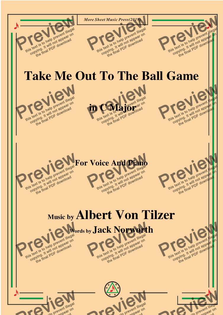page one of Albert Von Tilzer-Take Me Out To The Ball Game,in C Major,for Voice and Piano