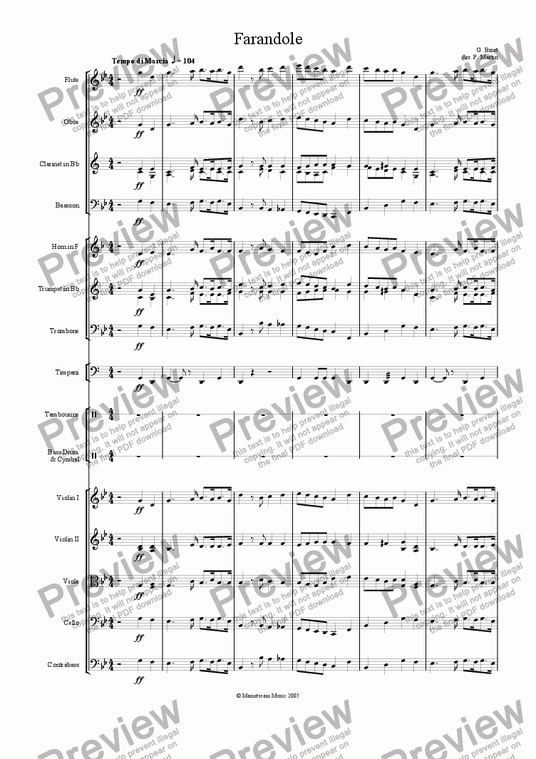 page one of Farandole from 'L'Arlesienne Suite No.2'