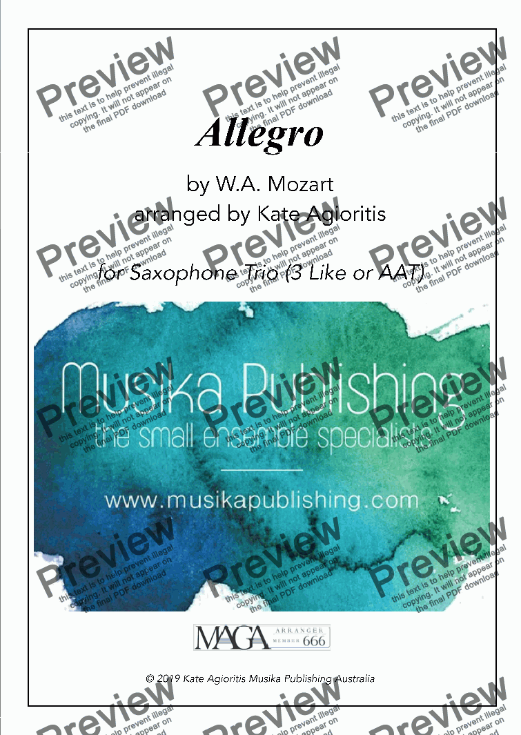 page one of Allegro - Saxophone Trio