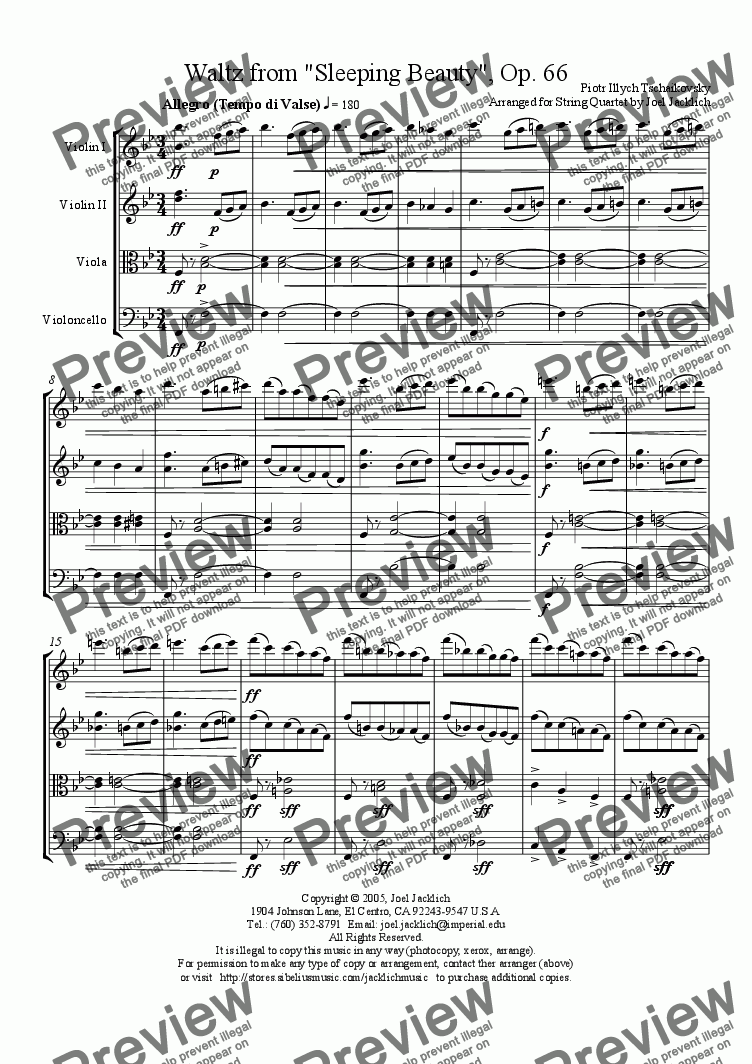 page one of Waltz from Sleeping Beauty