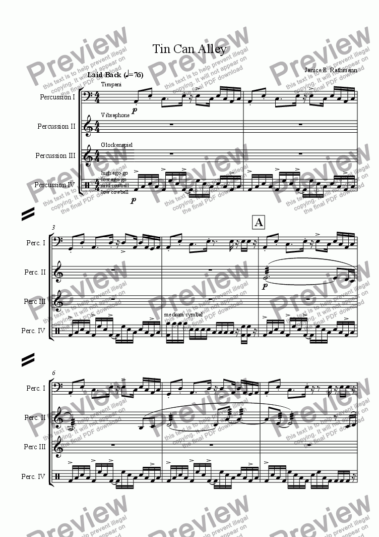 page one of Tin Can Alley (for percussion quartet)