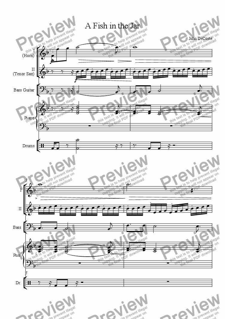 A Fish in the Jar for Jazz quartet by John DeCoste - Sheet Music PDF file  to download