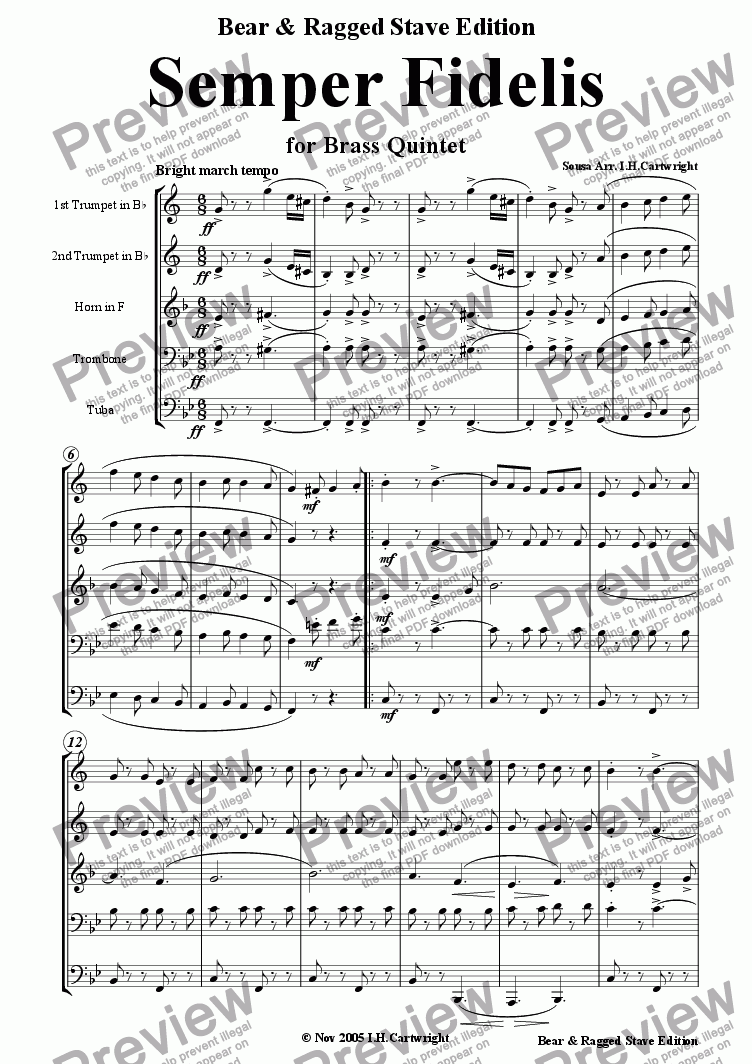 page one of Semper Fidelis for Brass Quintet