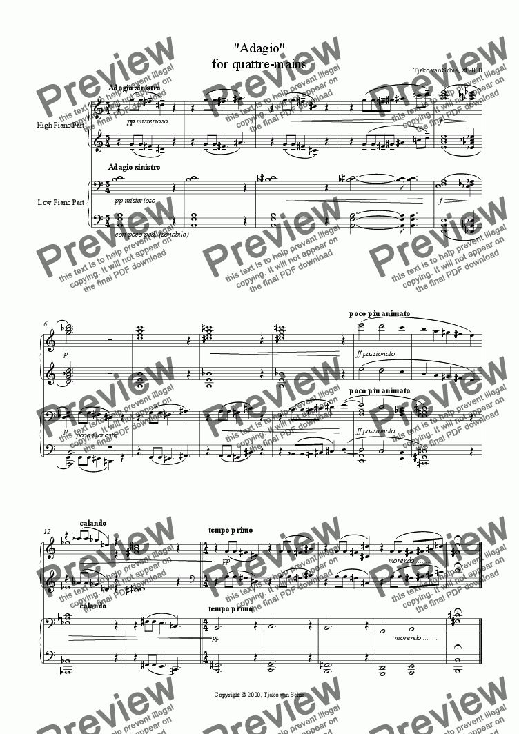page one of Adagio for Quattre Mains