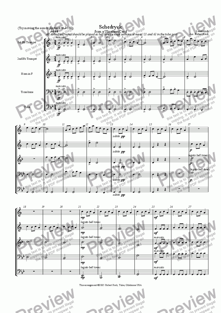 page one of Schedryk (Carol of the Bells)-Brass quintet or sextet