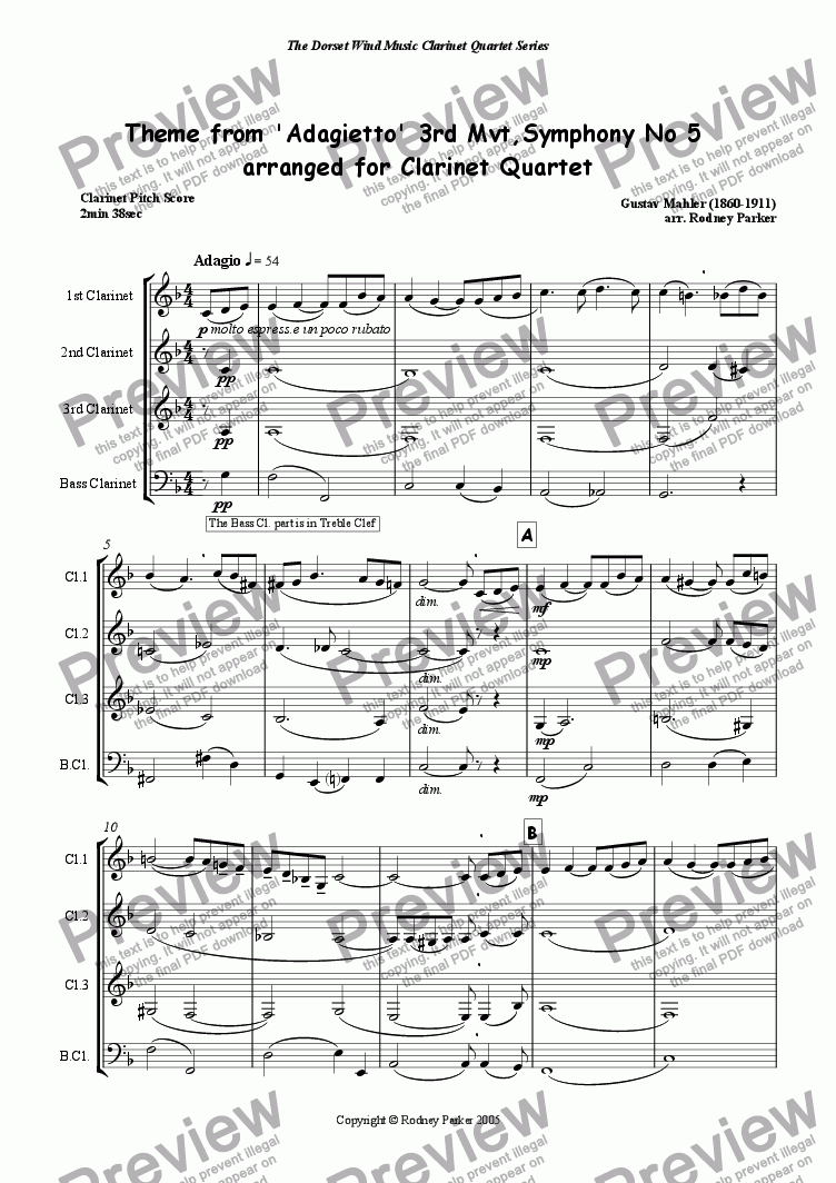 page one of Theme from 'Adagietto' 3rd Mvt, Symphony No 5 arr for Clarinet Quartet
