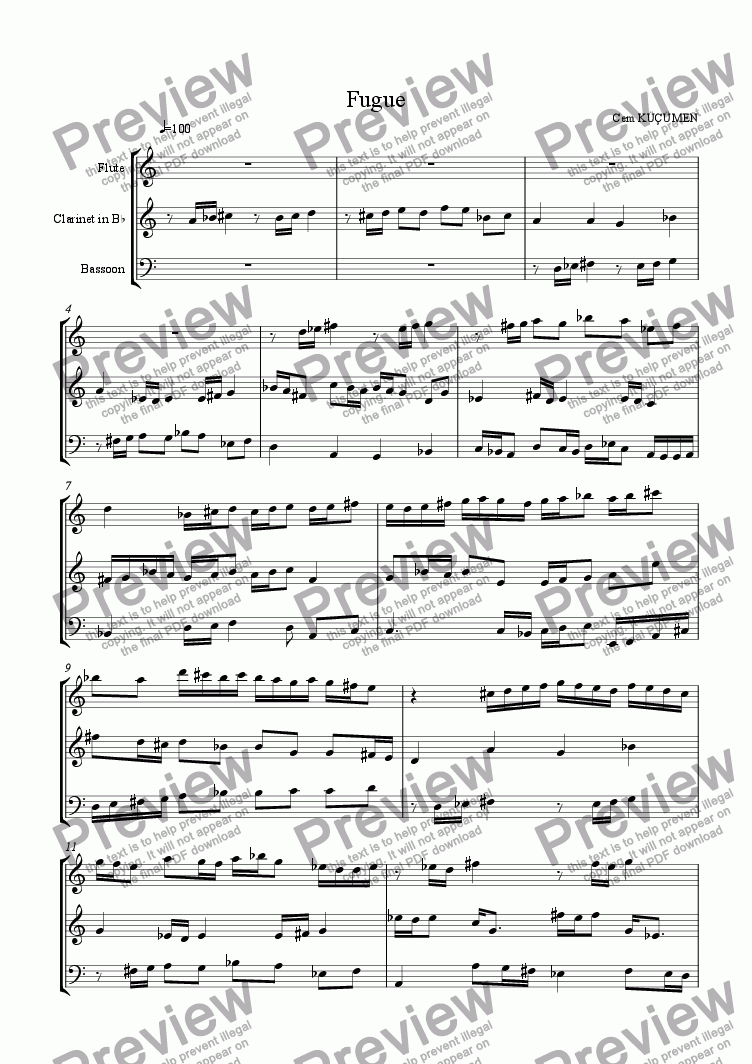 page one of Prelude,Fugue And Allegro. Part 2- Fugue