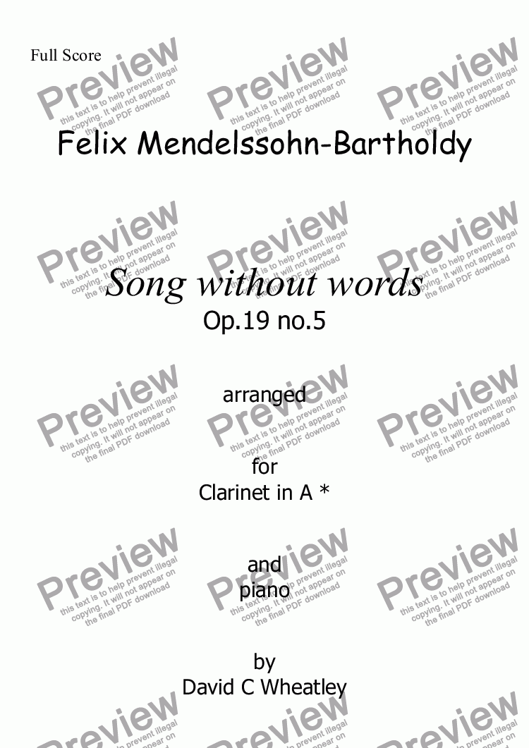 page one of Mendelssohn - Song without words op.19 no.5 for clarinet in A and piano arranged by David Wheatley