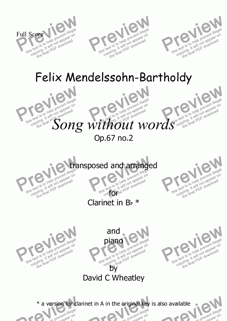 page one of Mendelssohn - Song without words op.67 no.2 for clarinet in Bb and piano arranged by David Wheatley