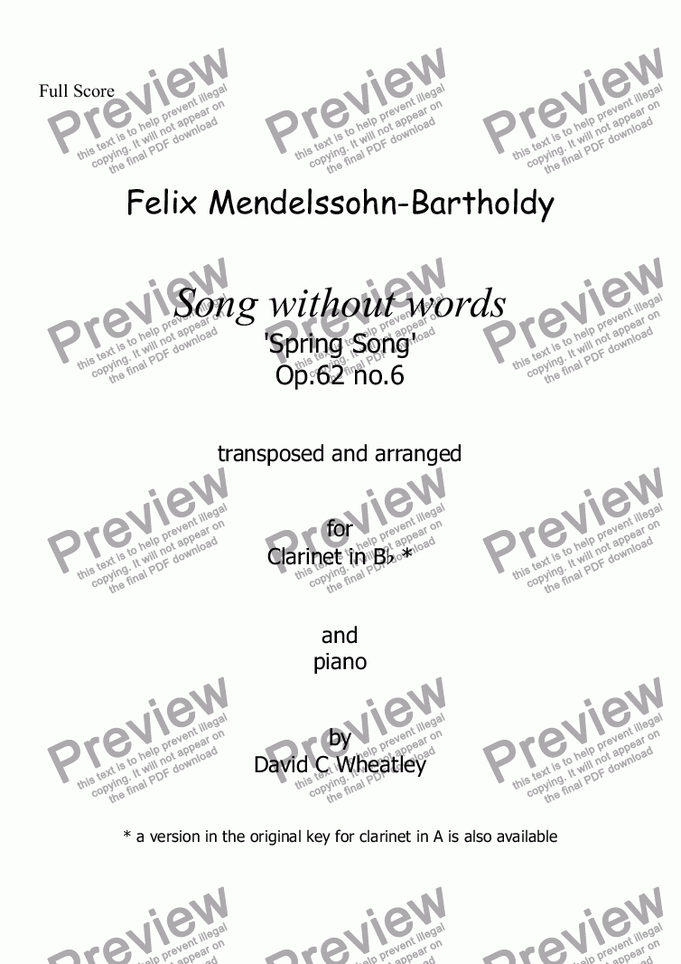 page one of Mendelssohn - Song without words op.62 no.6 'Spring Song' for clarinet in Bb and piano arranged by David C Wheatley