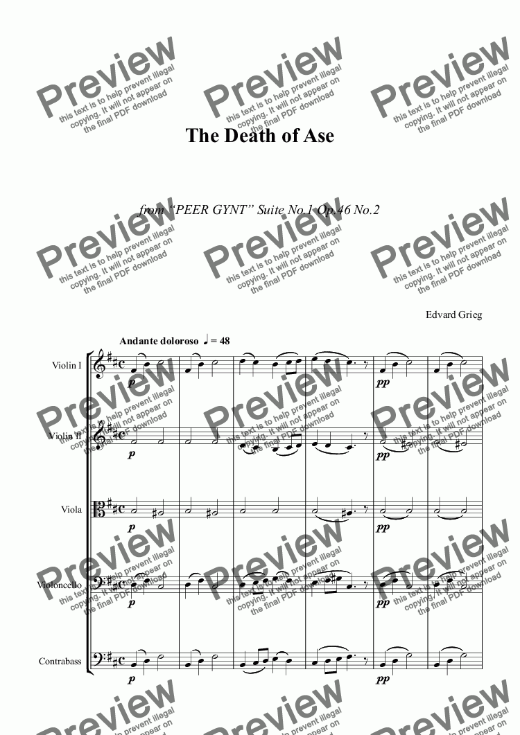 page one of GRIEG - The Death of Ase - string orchestra - score and parts