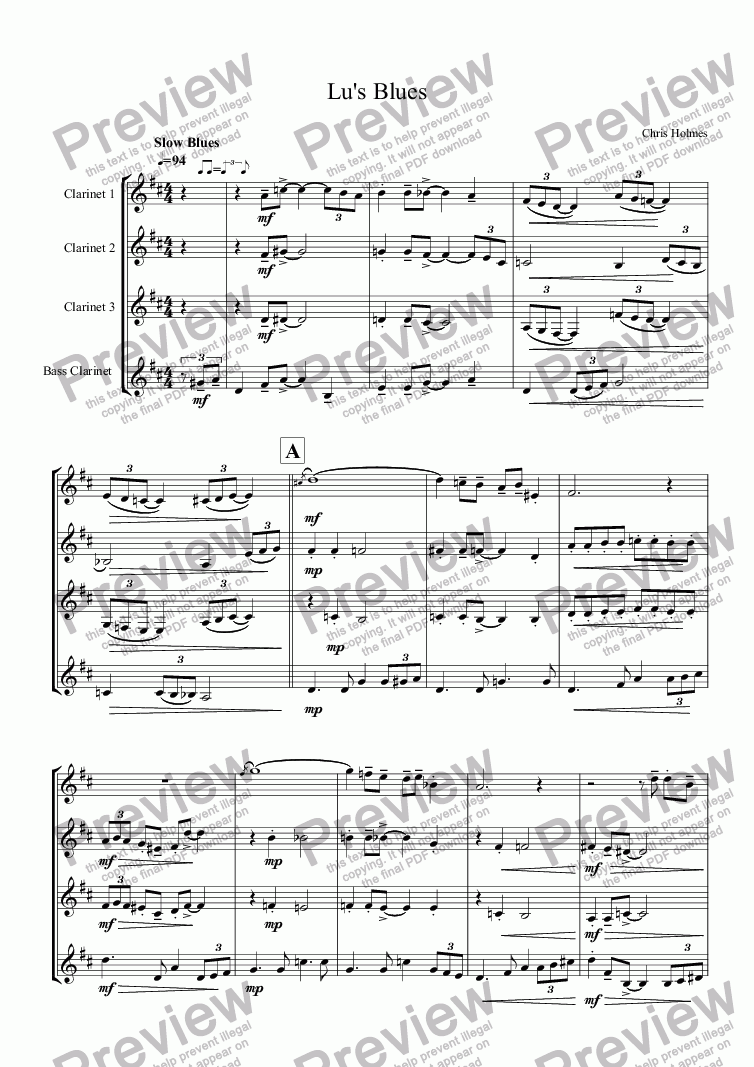 page one of Lu's Blues - Clarinet Quartet