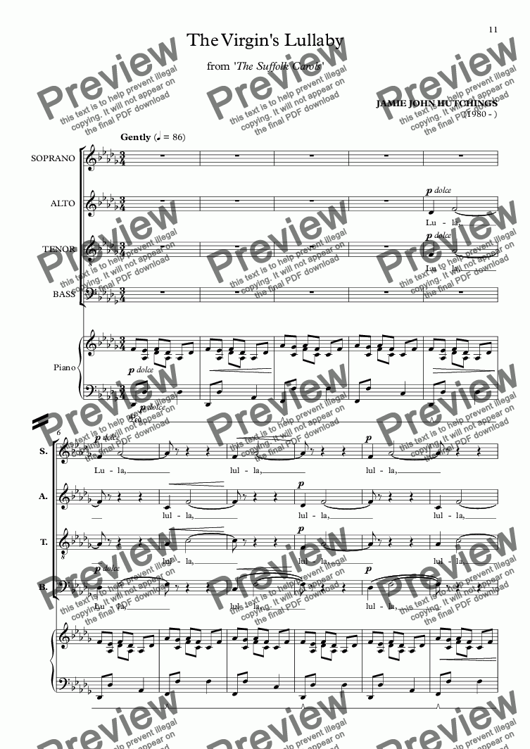 page one of The Suffolk Carols - 2 - The Virgin's Lullaby (Christmas) [SATB + Piano/Organ]