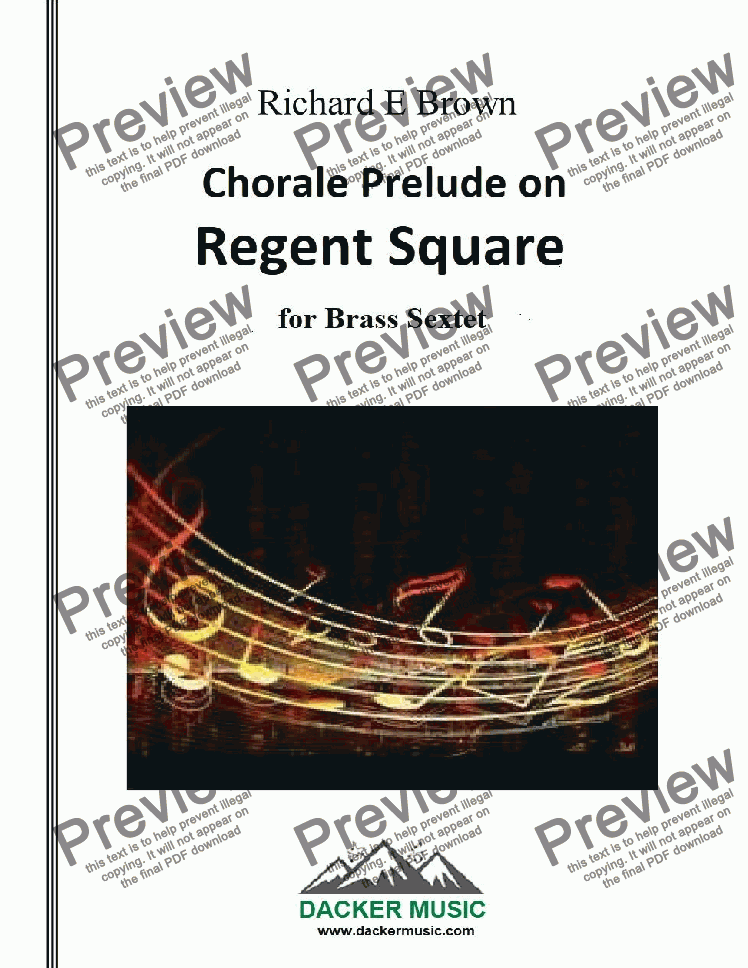 page one of Chorale Prelude on Regent Square - brass sextet